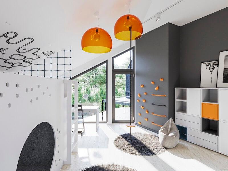 projekt pokoju dziecka ze ścianką wspinaczkową mroomy