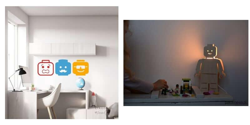 Naklejki ścienne z lego i lampka nocna ze sklejki