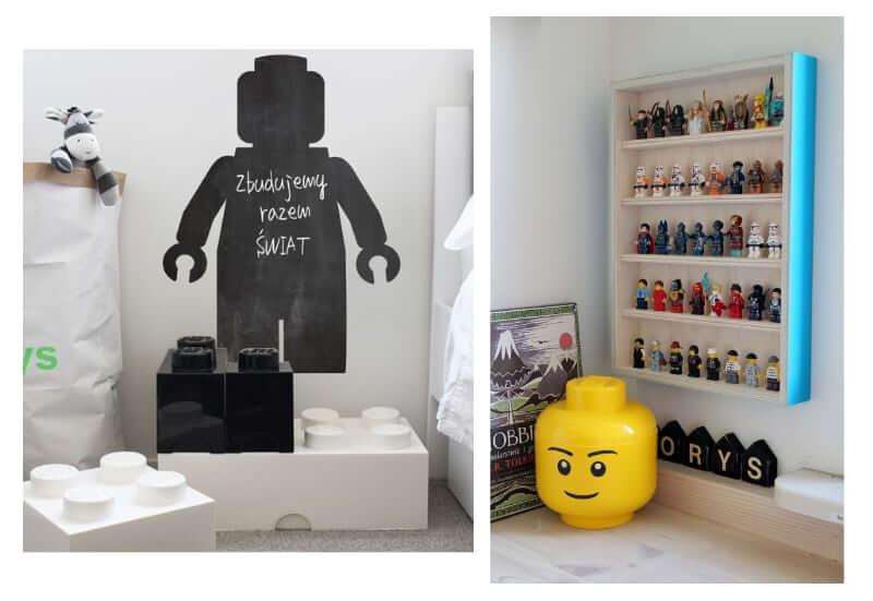 puffy w kszstałcie lego i półka na klocki lego mroomy