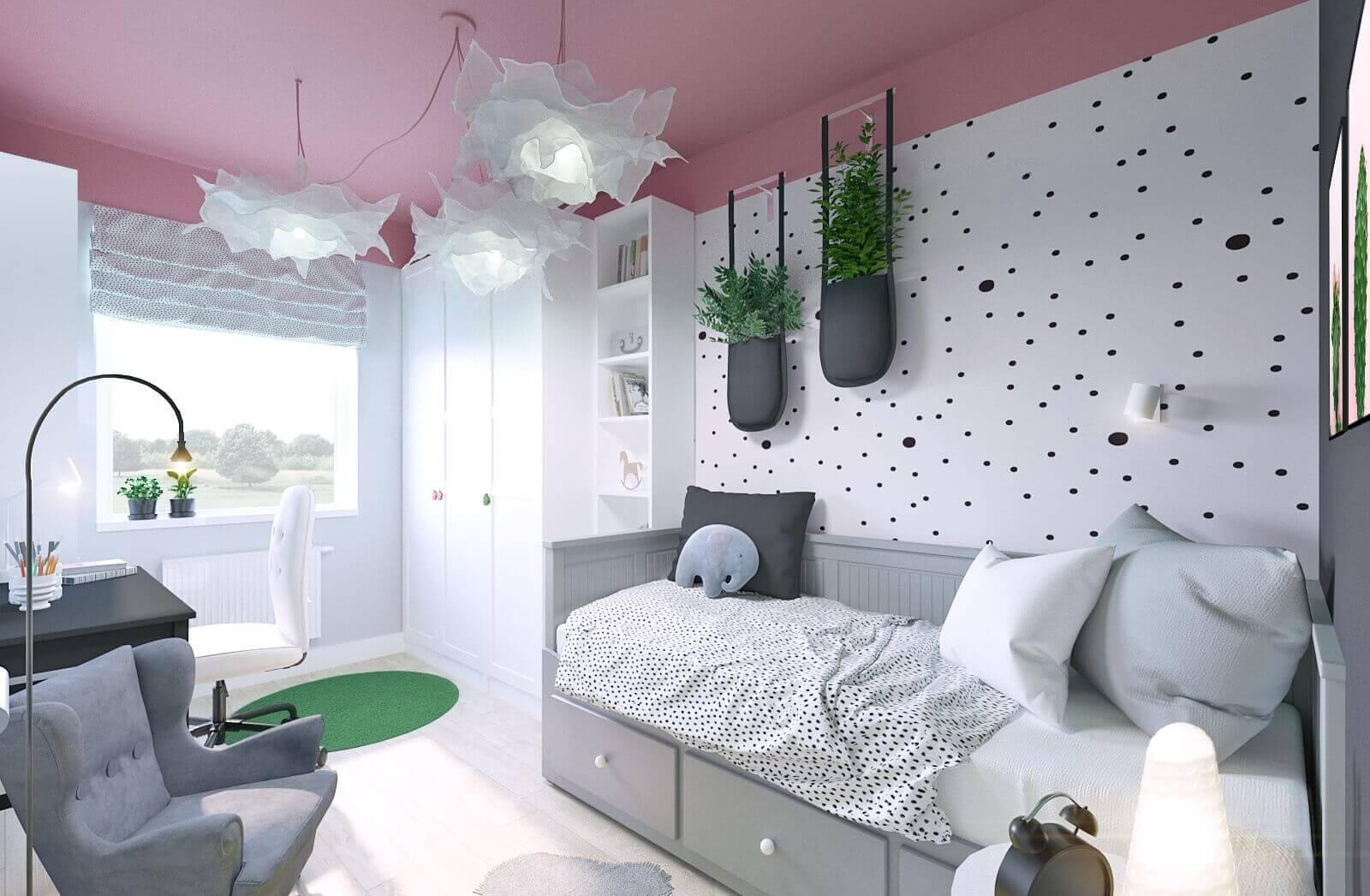 projekt pokoju dla 8 letniej dziewczynki z mebli ikea różowy mroomy
