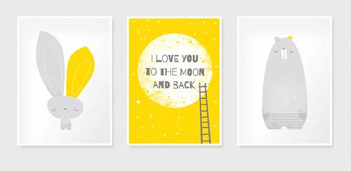 żółte plakaty do pokoju dziewczynki mroomy