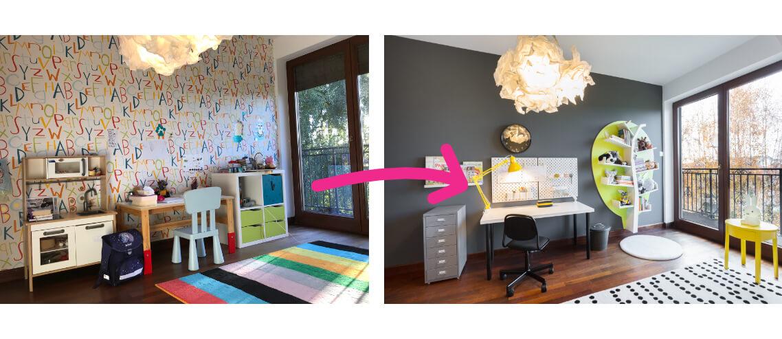 metamorfoza pokoju dziewczynki 6 lat biurko