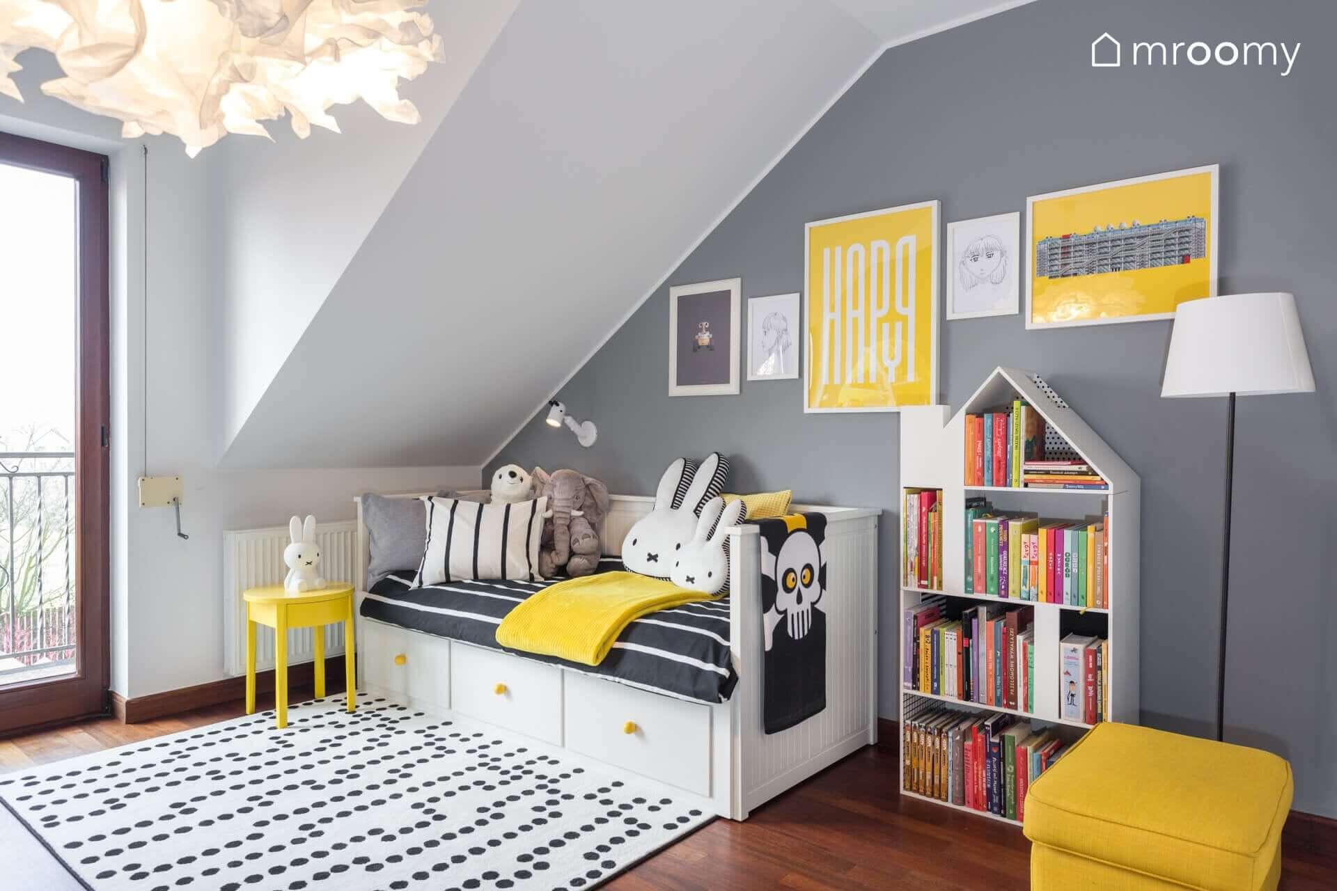 żółto czarny pokój dziewczynki 6 lat łóżko