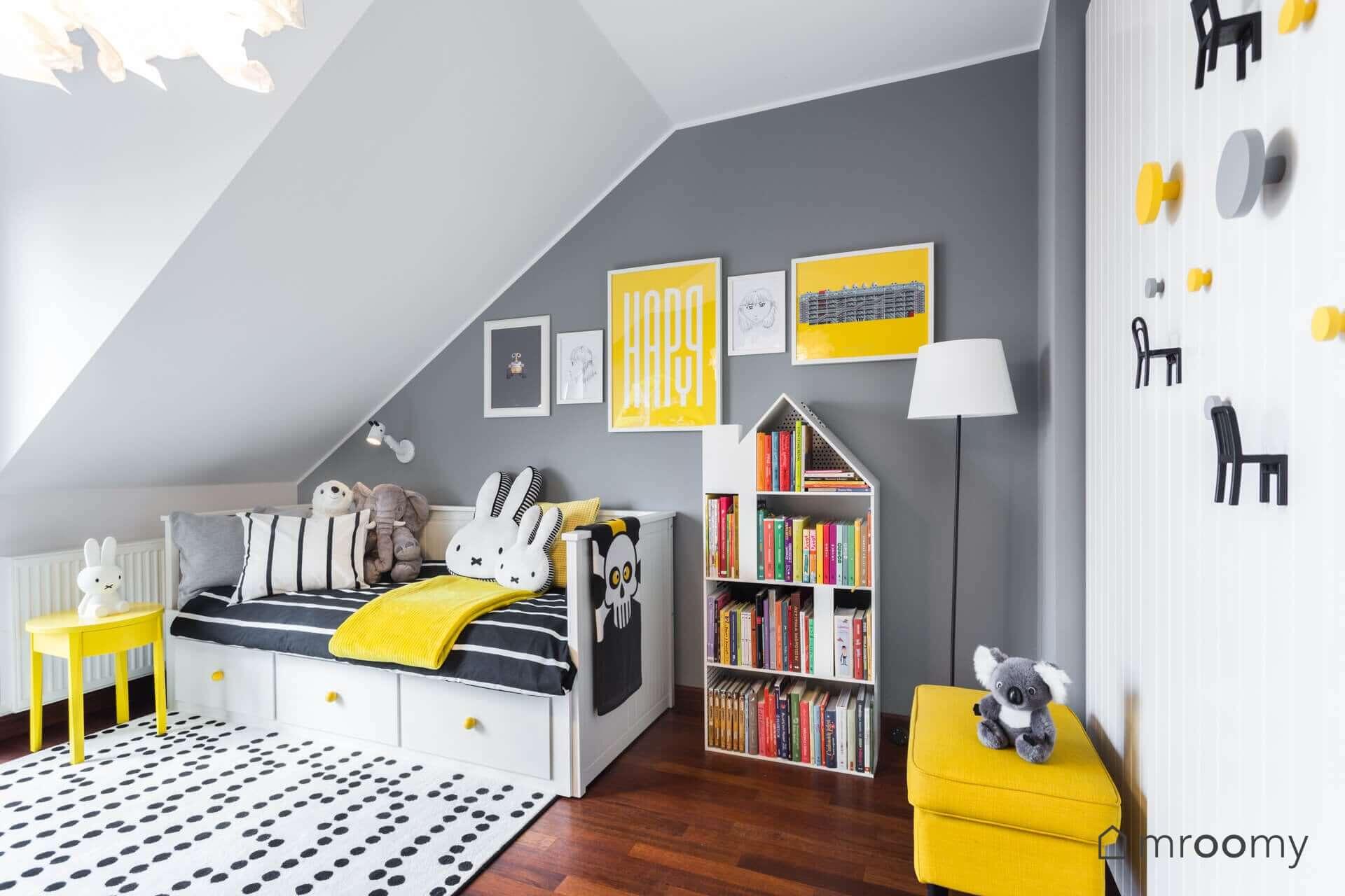 żółto czarny pokój dziewczynki 6 lat hemnes mroomy