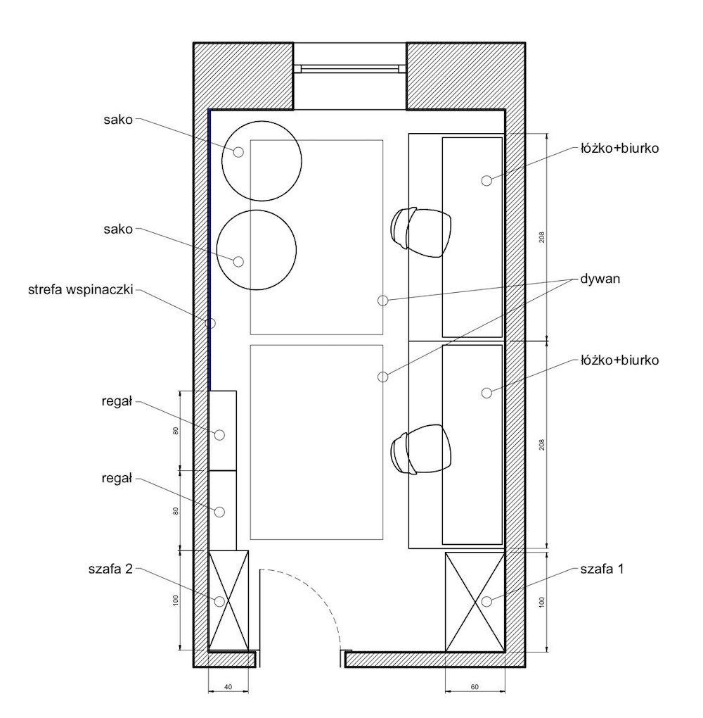 Zaproponowany uklad pokoju przez Mroomy