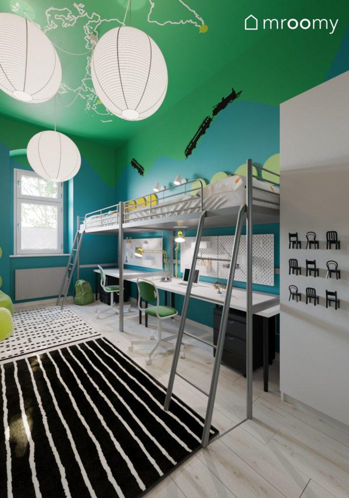 wizualizacja pokoju dla dwójki dzieci w niebiesko-zielone ściany