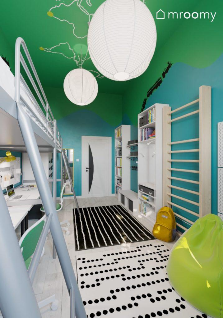 wizualizacja pokoju dla dwójki dzieci w niebiesko-zielone ściany z drabinką