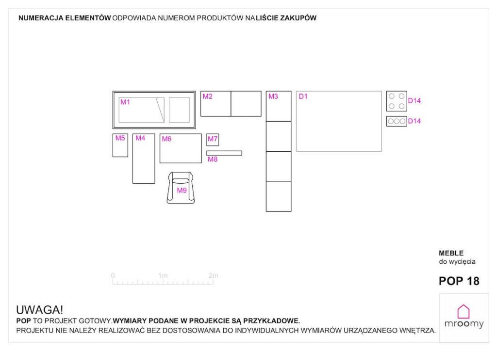 Gotowe schematy mebli do wycięcia w projekcie Mroomy POP 18