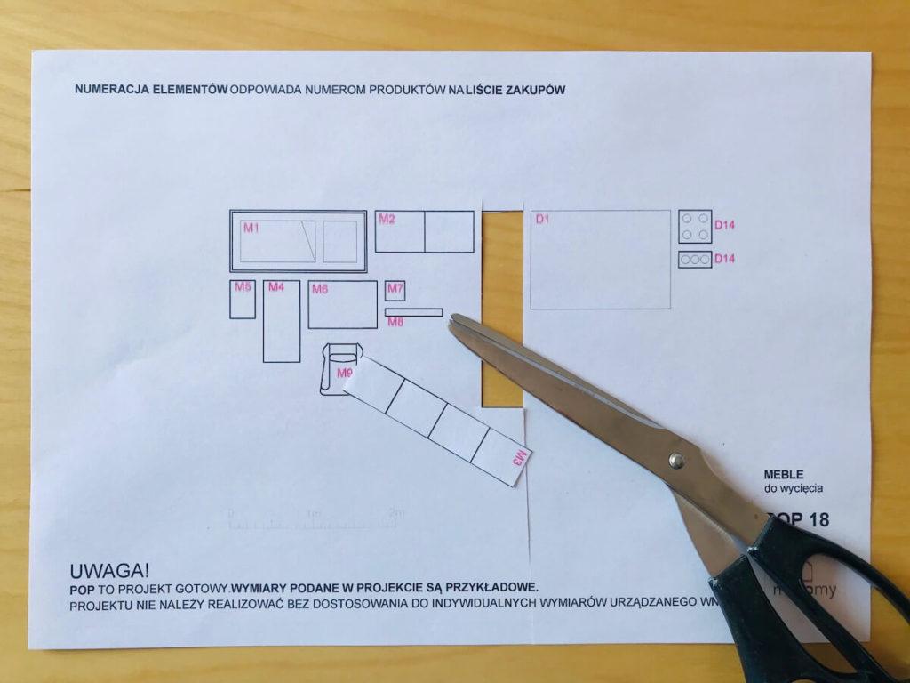 Schematy mebli w gotowym projekcie pokoju dziecka