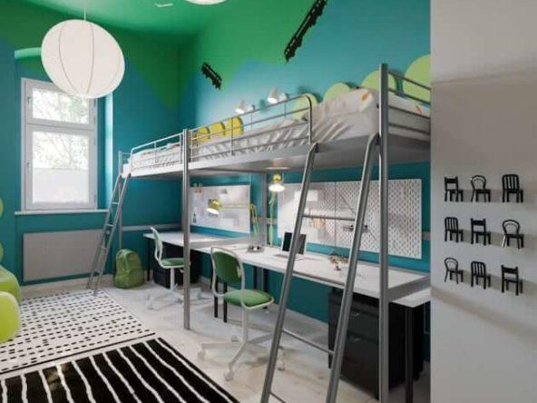 Dwa łóżka z antresolami z miejscami do nauki pod strefą spania w pokoju rodzeństwa typu wagon
