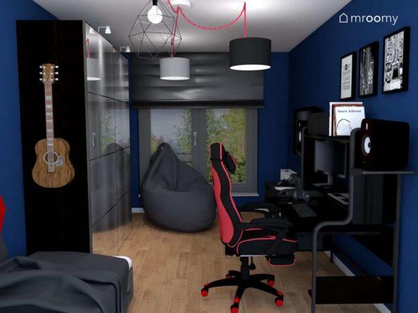 Pokój nastolatka z workiem sako dużą szafą i wygodnym miejscem do grania w gry komputerowe