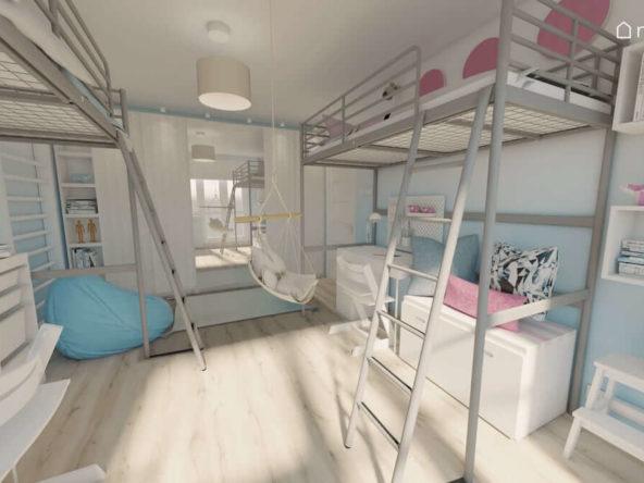 Łóżko z antresolą do spania i biurkiem pod spodem w jasnym pokoju dwóch dziewczynek z dodatkami w kolorze różu i niebieskiego koloru