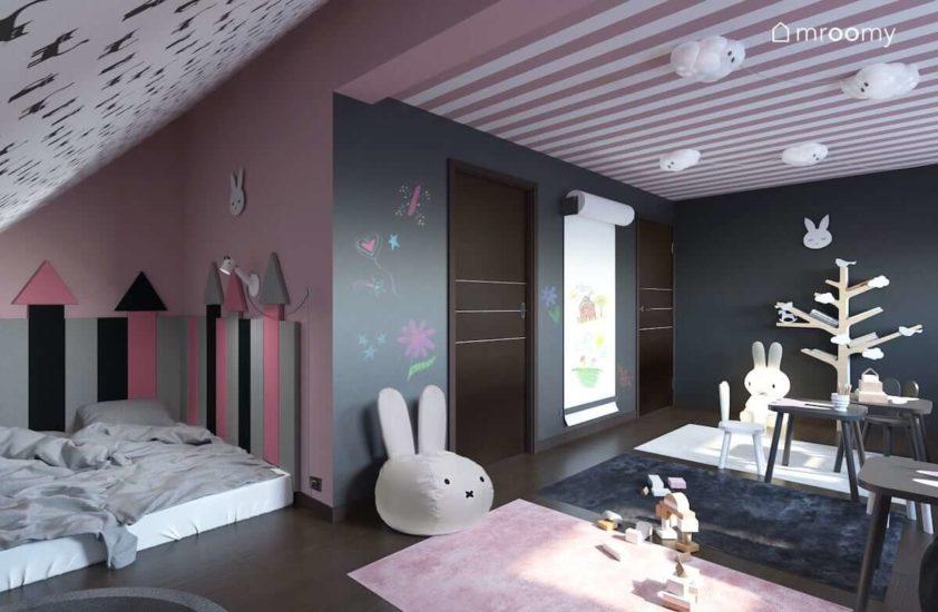 Miejsce do spania pod skosem z miekkimi panelami ściennymi pufą w kształcie królika i dodatkami w kolorach różu i szarości w pokoju dziewczynek
