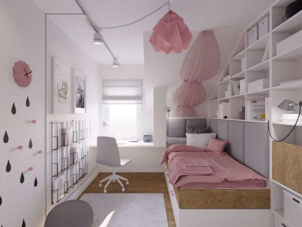 Meble na zamówienie w białym kolorze w pokoju dziewczynki z różowymi dodatkami