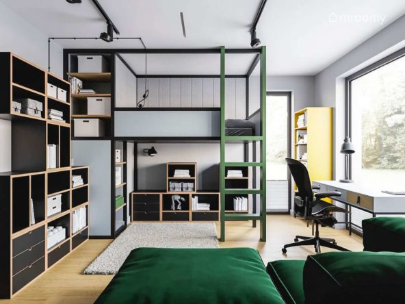 Pokój nastolatka w kolorze zieleni szarości czerni ze sklejkowymi meblami i antresolą z łóżkiem