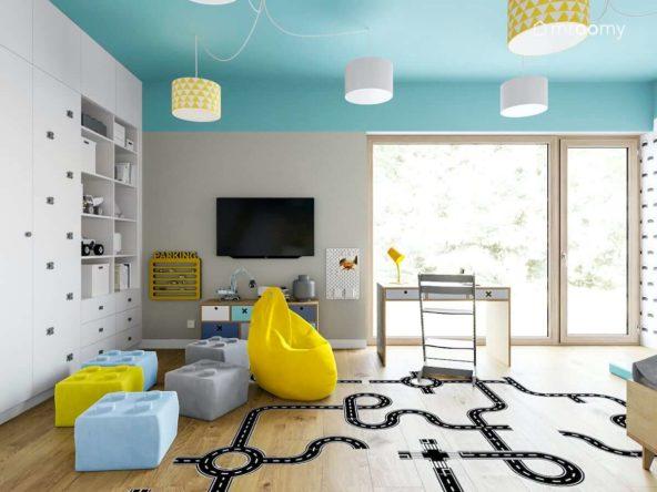 Pufy żółty worek sako niebieski sufit i naklejki podłogowe z ulicą w pokoju chłopca fana lego