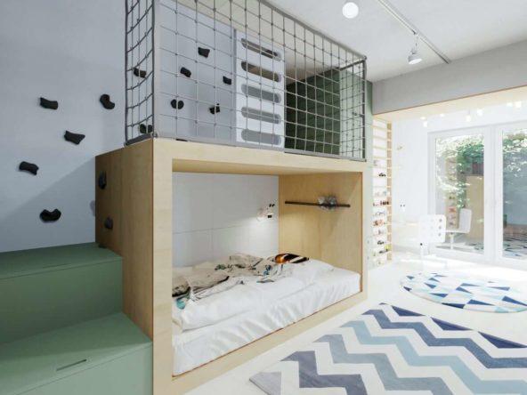 Pokój małego chłopca z łóżkiem na wymiar i antresolą nad nim w kolorach szarości i zieleni