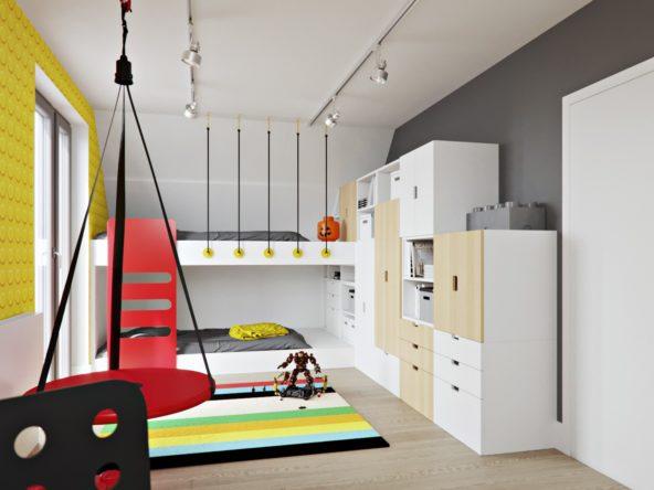 Pokój braci z piętrowym łóżkiem żółta tapeta z motywem lego dywan w kolorowe paski i jasno drewnianymi meblami