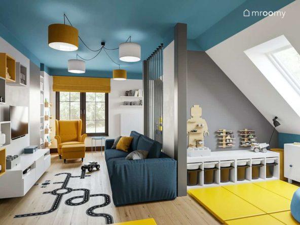 Pokój ośmioletniego chłopca z wydzielonymi strefami do zabawy i spania w kolorach szary niebieski żółty i biały