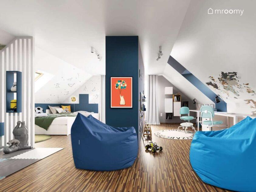 Biało granatowy poddaszowy pokój dla dwóch chłopców z dwoma łóżkami biurkami niebieskimi pufami sako oraz ścianami ozdobionymi panelami ściennymi oraz naklejkami z konstelacjami i mapą