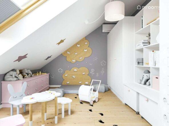 Poddaszowy pokój dla dziewczynki ze ścianką wspinaczkową na ścianie pomalowanej kredową farbą oraz biała szafa i regał a na podłodze naklejki w kształcie odcisków stóp