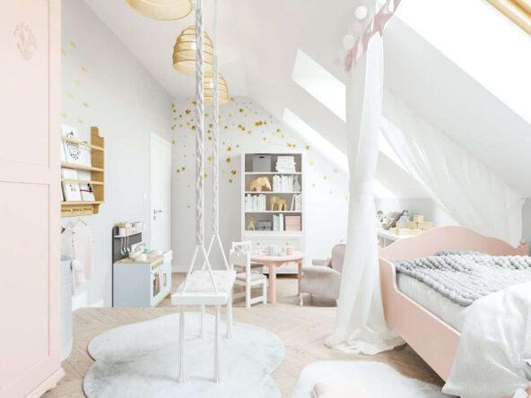 Bogato udekorowane łóżko podwieszana huśtawka oraz tapeta w złote gwiazdki w biało różowo szarym poddaszowym pokoju dla dziewczynki