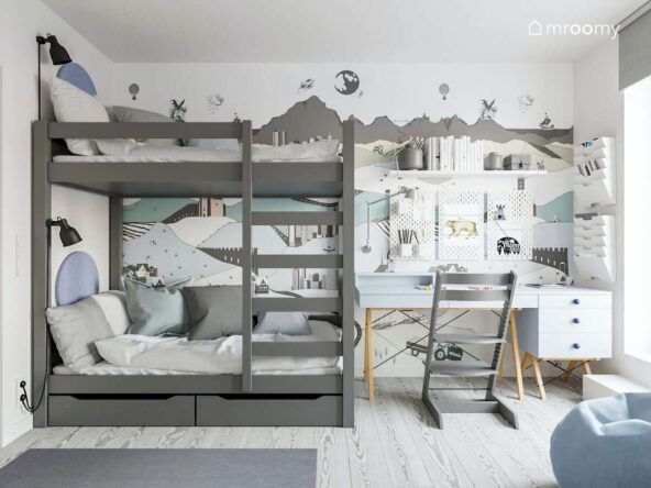 Pokój dla braci z szarym łóżkiem piętrowym błękitnym nowoczesnym skandynawskim biurkiem krzesłem z podnóżkiem ozdobiony tapetą przedstawiającą krajobraz miasta utrzymany w kolorystyce szaro-błękitnej- białej