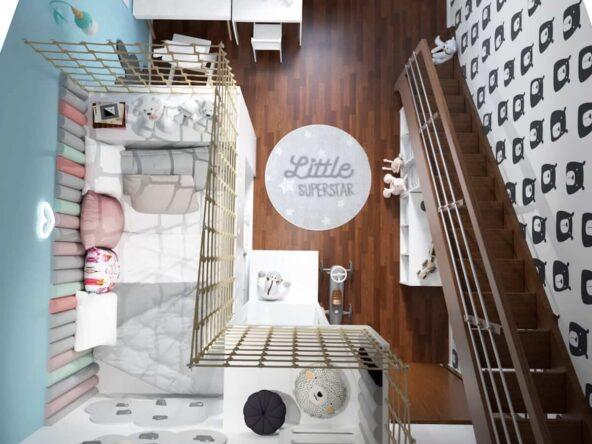Pokój dla rodzeństwa z łóżkiem na antresoli uzupełnionym miękkimi panelami ściennymi w pastelowych kolorach oraz ścianą pokrytą tapetą w misie