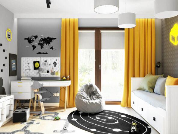 Biało szary pokój dla chłopca z żółtymi zasłonami szarą pufą czarno białym dywanem i biurkiem z pomocnymi organizerami nad nim naklejka mapa świata