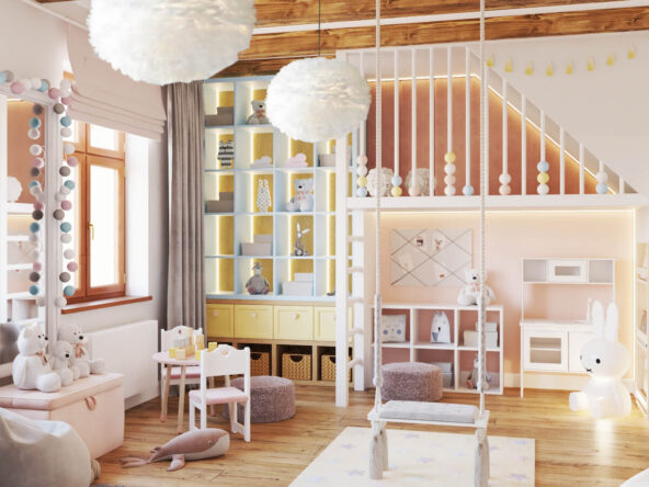 Antresola a także zabudowa meblowa wykonana na zamówienie oraz zawieszona u sufitu huśtawka i stolik z tapicerowanymi krzesełkami w pokoju dla małej dziewczynki