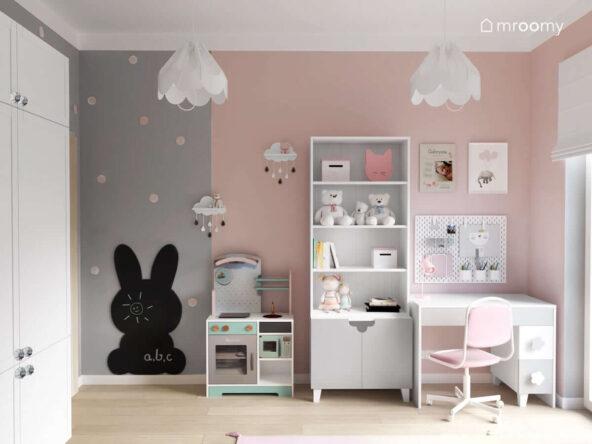 Białe biurko regał oraz kuchenka do zabawy a także tablica kredowa w kształcie królika oraz ozdobne lampy bezy w szaro różowo białym pokoju dla dziewczynki