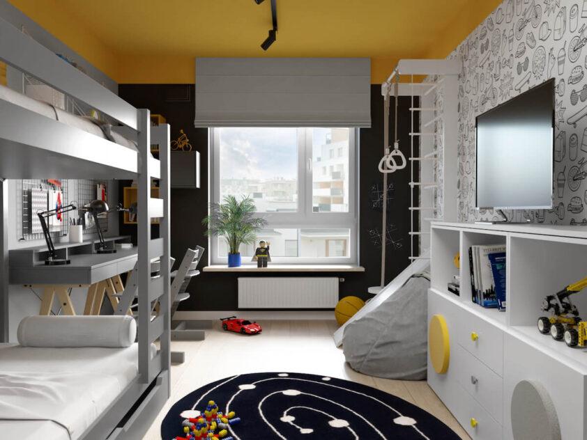 Szaro czarno żółty pokój dla dwóch braci z szarym łóżkiem piętrowym drabinką gimnastyczną szarym workiem do siedzenia i czarno białym dywanem