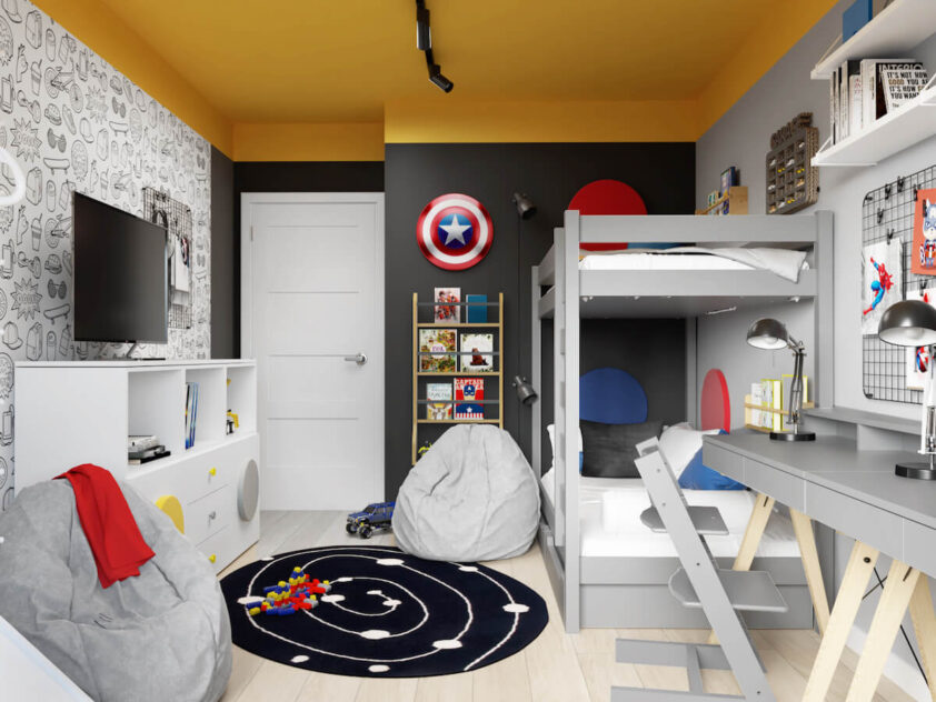 Szaro czarny pokój dla dwóch chłopców z żółtym sufitem a także szarym łóżkiem piętrowym białą komodą dwoma workami do siedzenia oraz tarczą Kapitana Ameryki na ścianie